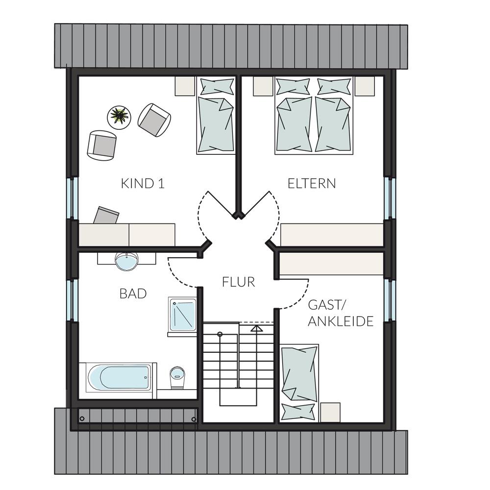 Gewaltig Grundriss Einfamilienhaus 150 Qm Foto Von Dachgeschoss 128